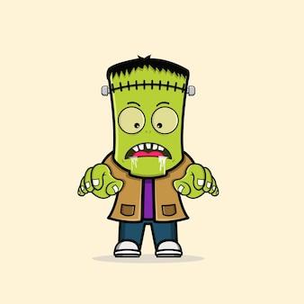 Schattig zombie frankenstein karakter gratis vector