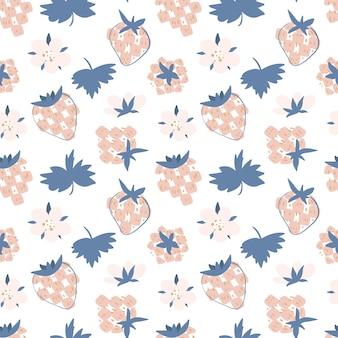 Schattig zomerpatroon fruit illustratie in de scandinavische stijl hand getrokken platte aardbei