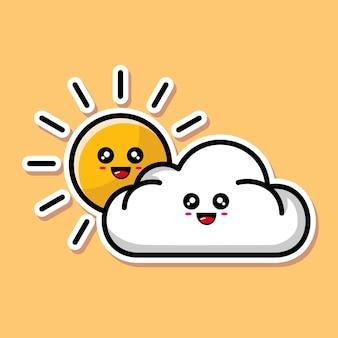 Schattig zon en wolken cartoon ontwerp