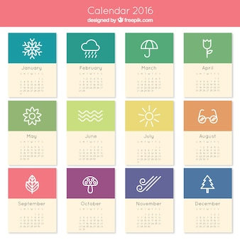 Schattige 2016 kalender