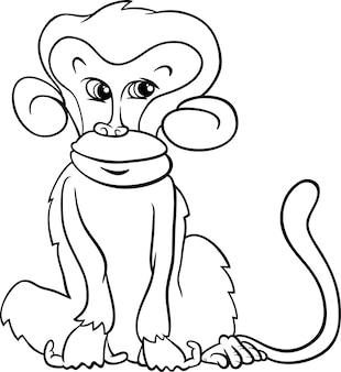 Schattige aap cartoon kleurplaat
