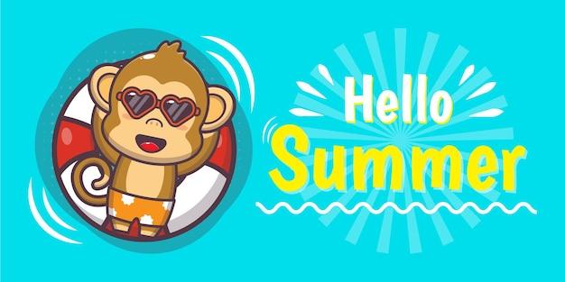 Schattige aap met zomergroetbanner