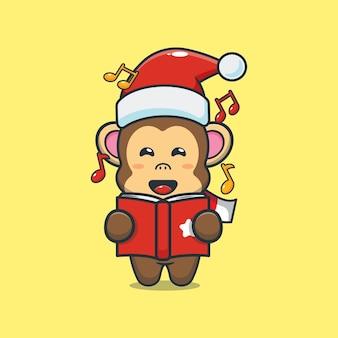 Schattige aap zingt een kerstliedje leuke kerst cartoon illustratie