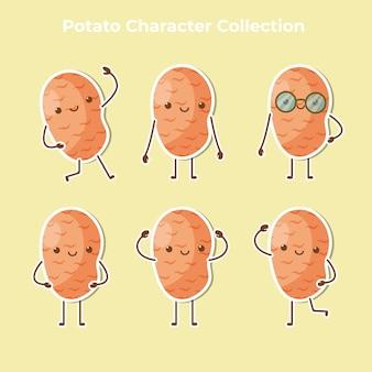Schattige aardappel karakter collectie vector