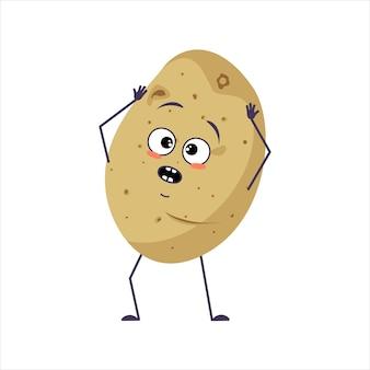 Schattige aardappel karakter met emoties in paniek grijpt zijn hoofd gezicht armen