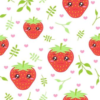 Schattige aardbei met bladeren patroon illustraties