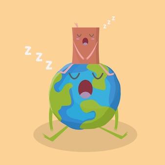 Schattige aarde en boek slapen vectorillustratie