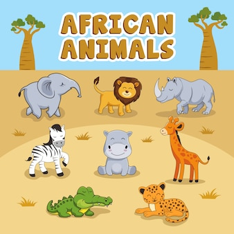 Schattige afrikaanse dieren cartoon set collecties