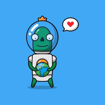 Schattige alien houdt van planeet aarde