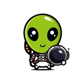 Schattige aliens die astronautenkostuums dragen