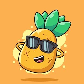 Schattige ananas dragen bril cartoon pictogram illustratie. zomer fruit pictogram concept geïsoleerd op een oranje achtergrond