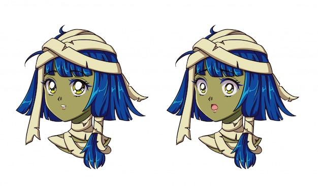 Schattige anime mummie meisje portret. twee verschillende uitdrukkingen. 90s retro anime stijl hand getekend vectorillustratie. geïsoleerd.