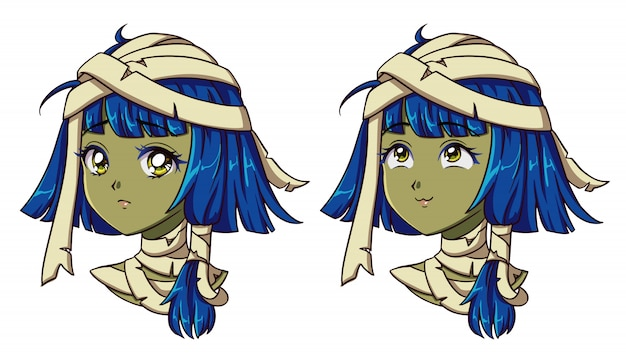 Schattige anime mummie meisje portret. twee verschillende uitdrukkingen. jaren 90 retro anime stijl hand getekend vectorillustratie. geïsoleerd.