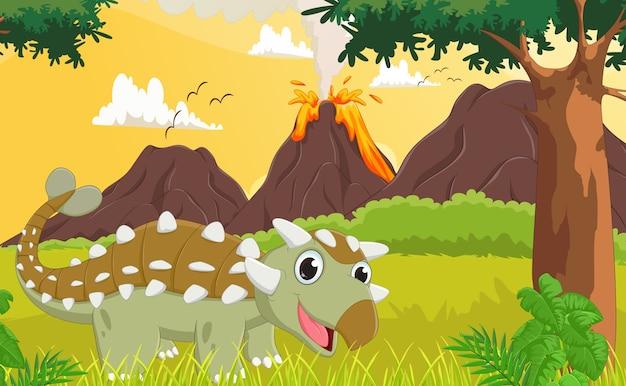 Schattige ankylosaurus met prehistorische achtergrond