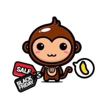 Schattige apen met kortingsbonnen voor zwarte vrijdag