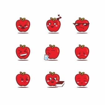 Schattige appel pictogrammenset, illustratie. schoon pictogram concept. platte cartoon stijl