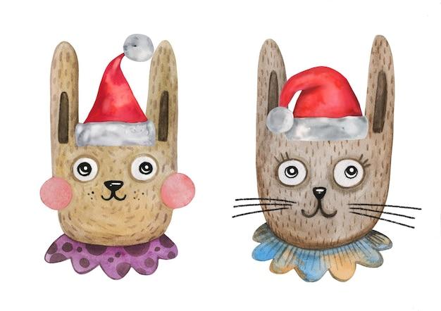 Schattige aquarel vector konijntjes in elf feestmutsen hoeden met pom pom