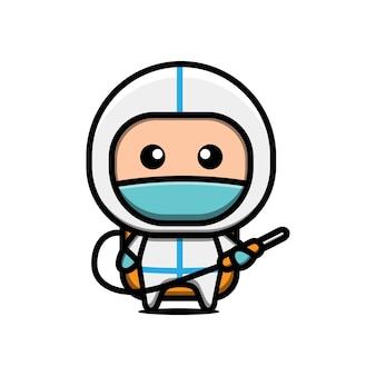 Schattige arts draagt ?? beschermende kleding cartoon afbeelding
