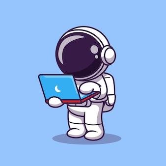 Schattige astronaut bezig met laptop cartoon vectorillustratie pictogram. wetenschap technologie pictogram
