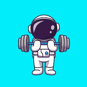 Schattige astronaut hijs halter cartoon pictogram illustratie. science sport icon concept geïsoleerd. platte cartoon stijl