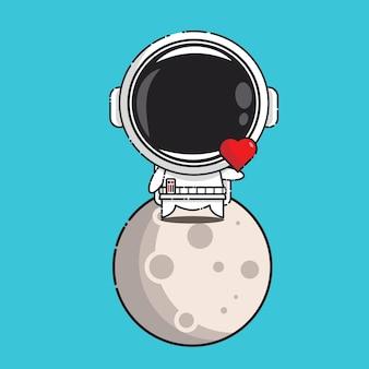 Schattige astronaut in de maan met liefdesbord geïsoleerd op blauw