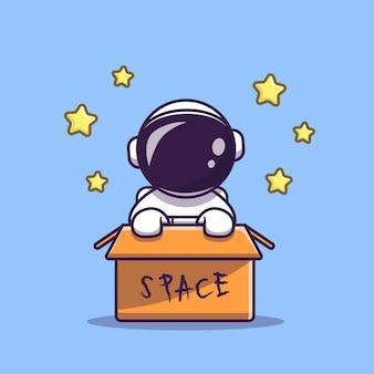 Schattige astronaut in doos cartoon vectorillustratie pictogram. wetenschap technologie pictogram
