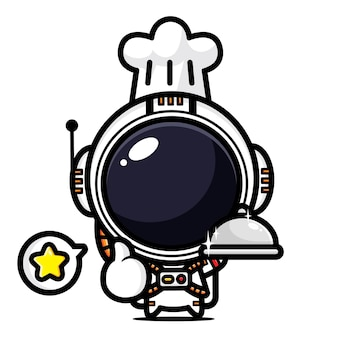 Schattige astronaut is een chef-kok