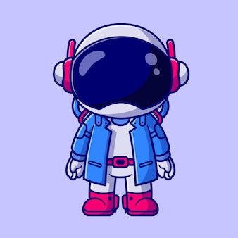 Schattige astronaut kid dragen pak cartoon vectorillustratie pictogram. technologie wetenschap pictogram concept geïsoleerd premium vector. platte cartoonstijl