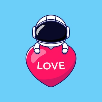 Schattige astronaut knuffelen liefde hart ballon
