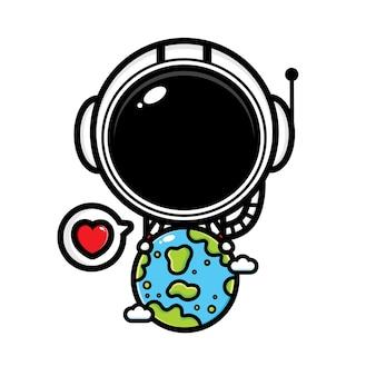 Schattige astronaut knuffelt de aarde