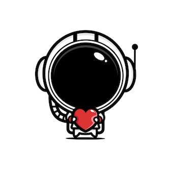 Schattige astronaut knuffelt een hart