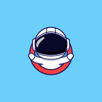 Schattige astronaut logo