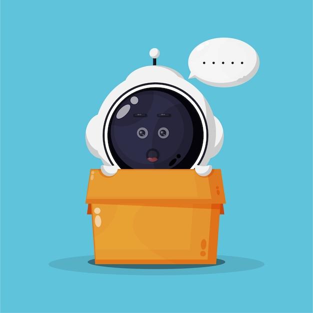 Schattige astronaut mascotte in doos