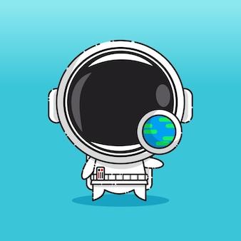 Schattige astronaut met aardeteken geïsoleerd op blauw