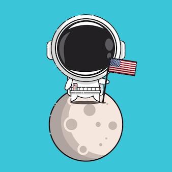 Schattige astronaut met amerikaanse vlag in maan geïsoleerd op blauw