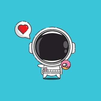 Schattige astronaut met donut en liefdesbord geïsoleerd op blauw