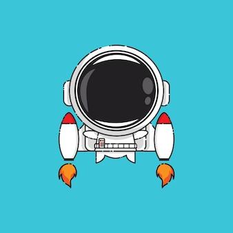 Schattige astronaut met jet geïsoleerd op blauw
