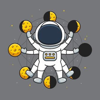 Schattige astronaut met maanfase achtergrond Premium Vector