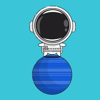 Schattige astronaut op neptunus geïsoleerd op blauw