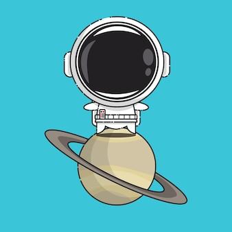 Schattige astronaut op saturnus geïsoleerd op blauw
