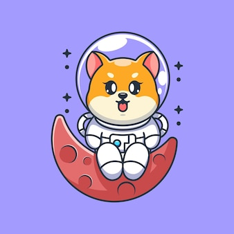Schattige astronaut shiba inu hond zittend op de maan