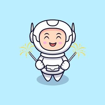 Schattige astronaut spelen vuurwerk cartoon afbeelding. flat cartoon stijl