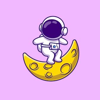 Schattige astronaut surfen op maan cartoon vectorillustratie.
