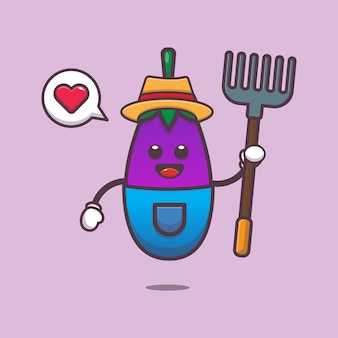 Schattige aubergine boer karakter illustratie