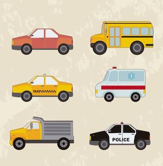 Schattige auto's instellen vintage stijl vectorillustratie