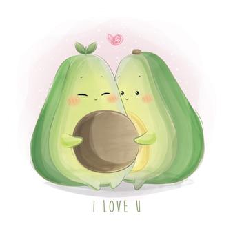 Schattige avocado paar