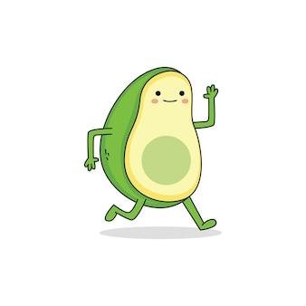 Schattige avocado stripfiguur weglopen