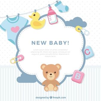 Schattige baby achtergrond in vlakke stijl