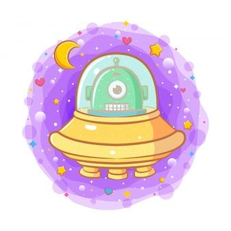 Schattige baby alien in een vliegende schotel