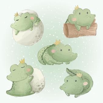 Schattige baby alligator doodle-collecties 1